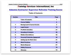 Asbestos Contractor/Supervisor course table of contents